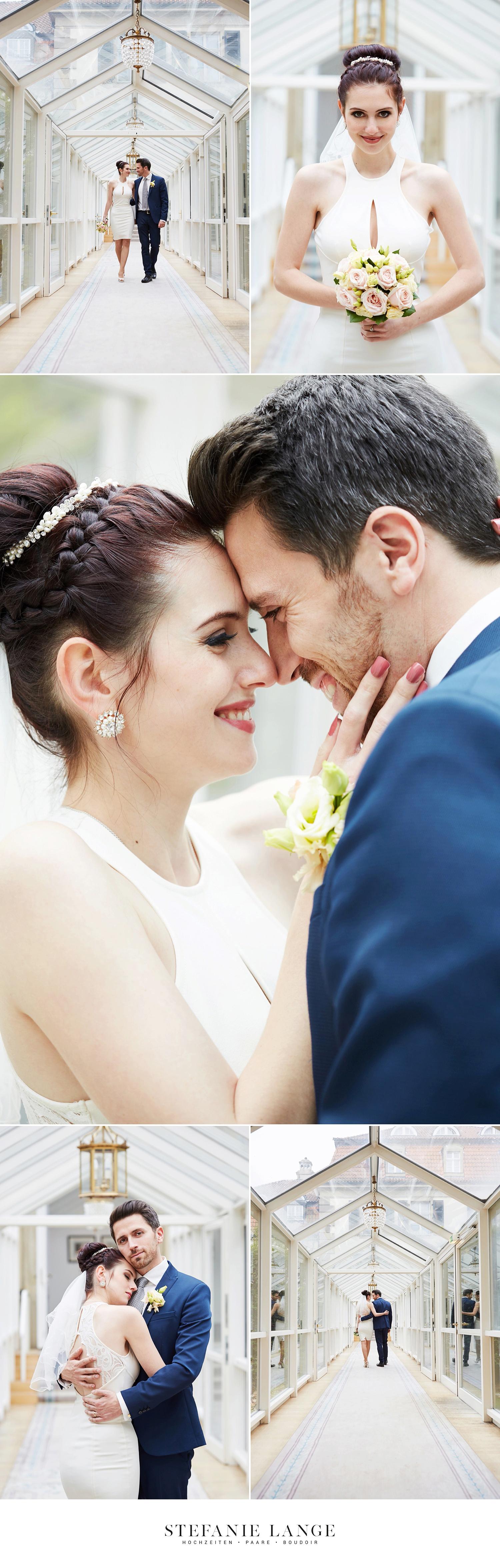 Hochzeit im Patrick Hellmann Schlosshotel Grunewald in Berlin - Brautpaar Shooting im Gewächshaus, Braut im Wintergarten - Hochzeitsfotos von Stefanie Lange