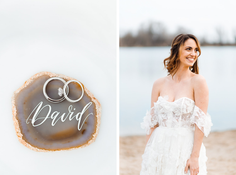 Boho Strand Hochzeit Inspiration mit Achat Scheiben: Ringe & Platzkarte - Stefanie Lange Hochzeitsfotografie