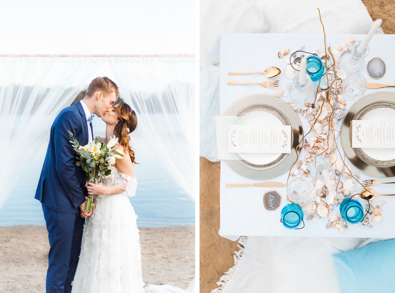 Boho Strand Hochzeit Inspiration mit Achat Scheiben: Hochzeitskuss - Stefanie Lange Hochzeitsfotografie