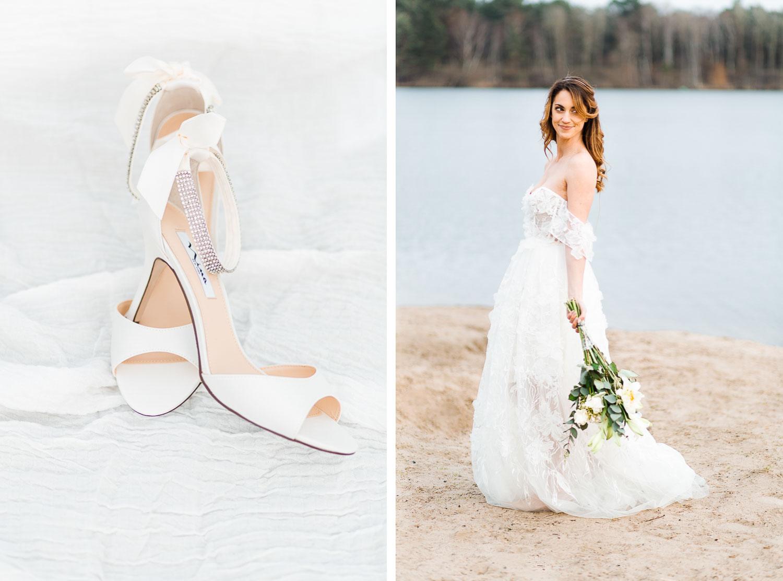 Boho Strand Hochzeit Inspiration mit Achat Scheiben: Brautschuhe und Details - Stefanie Lange Hochzeitsfotografie