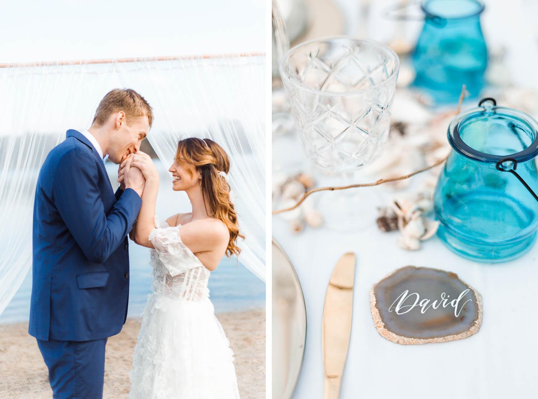 Boho Strand Hochzeit Inspiration mit Achat Scheiben: Trauung & Eheversprechen - Stefanie Lange Hochzeitsfotografie