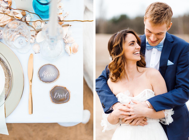 Boho Strand Hochzeit Inspiration mit Achat Scheiben: Brautpaarshooting - Stefanie Lange Hochzeitsfotografie