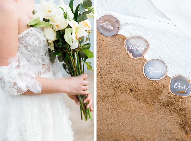 Boho Strand Hochzeit Inspiration mit Achat Scheiben: Idee für Platzkarten - Stefanie Lange Hochzeitsfotografie