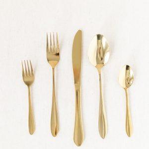 Besteck Set - gold, 5-teilig