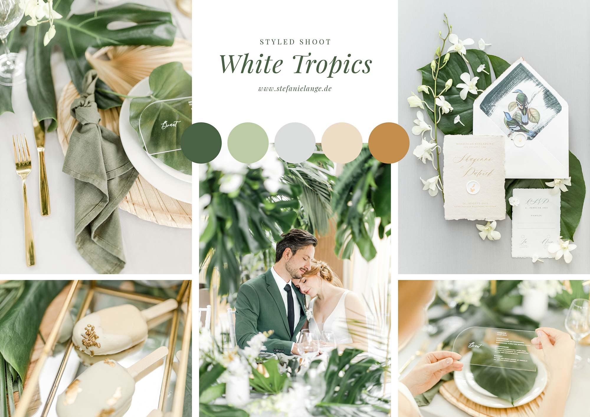 White Tropical - Moodboard vom Styled Shoot für Blogbeitrag zum Thema individuelles Hochzeitskonzept