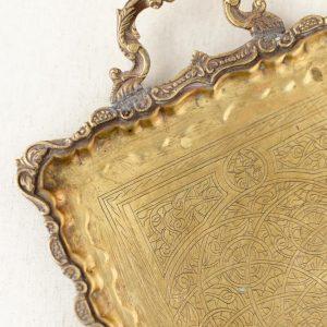 Messing Tablett Antik, rechteckig - gold