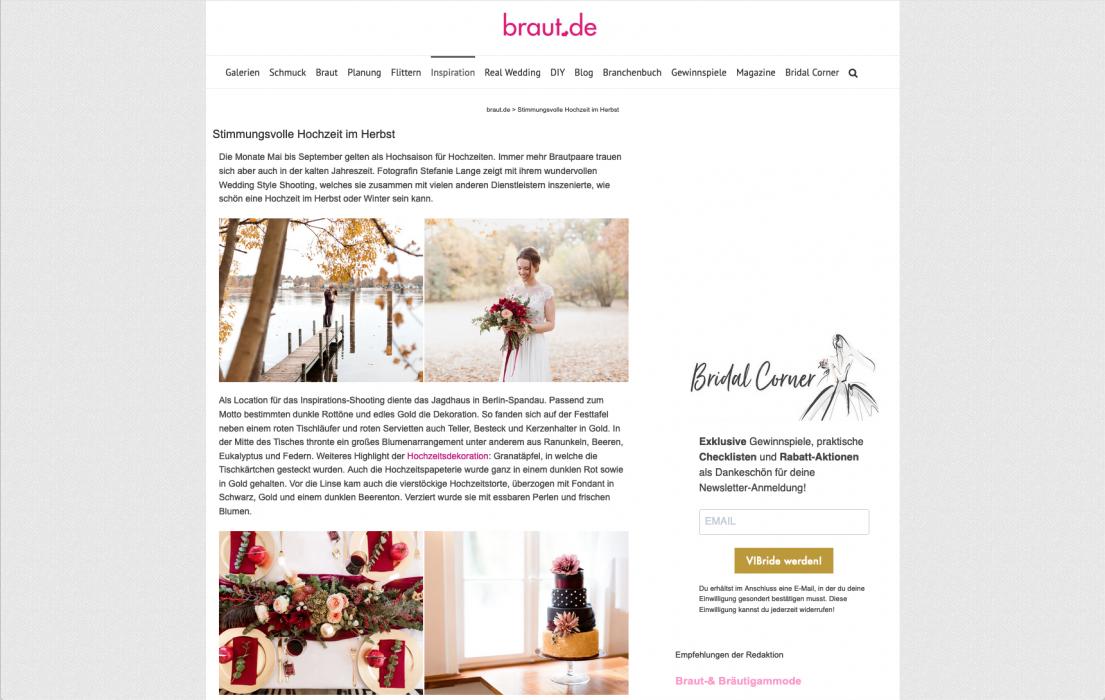 Veröffentlichung auf Braut.de mit der Stimmungsvollen Herbst Hochzeit Strecke