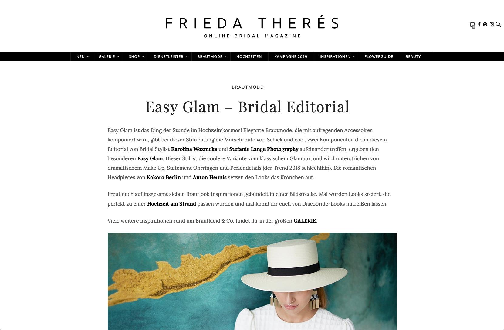 Veröffentlichung auf Frieda Theres mit dem Fashion Editorial Easy Glam