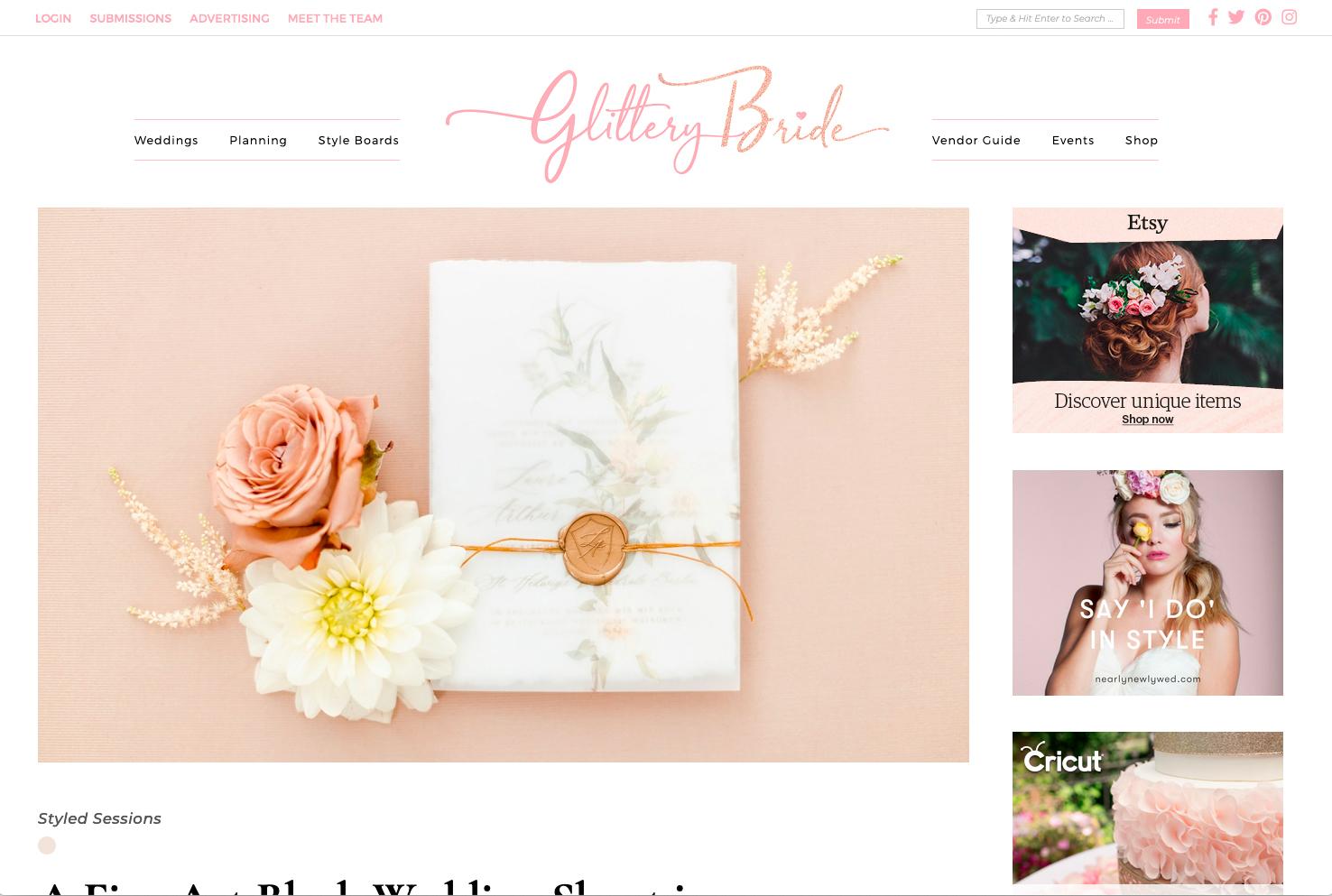 Veröffentlichung auf Glittery Bride mit der Fine Art Wedding Strecke