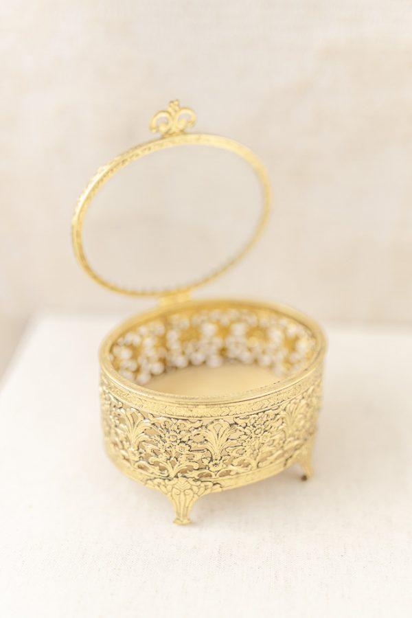 """Ringbox - Glas, gold """"Antik"""""""