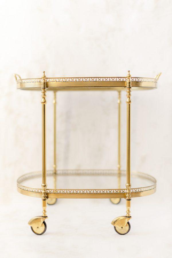 """Servierwagen """"Antik"""" - gold, Messing, Glas"""
